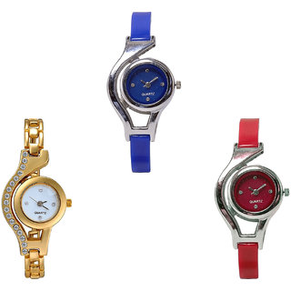 Neutron Best Fashion World Cup And Chain Analogue Blue, Gold And Red Color Girls And Women Watch - G2-G115-G5 (Combo Of  3 )