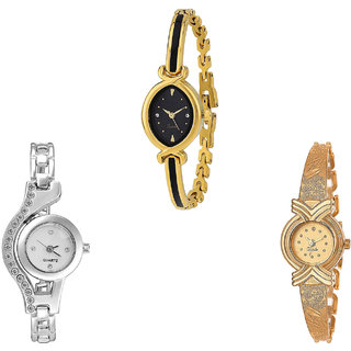 Neutron Brand New Model  Analogue Gold And Silver Color Girls And Women Watch - G121-G404-G265 (Combo Of  3 )