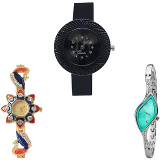 Neutron Latest Rich Chronograph And Peacock Analogue Black, Gold And Silver Color Girls And Women Watch - G57-G118-G406 (Combo Of  3 )