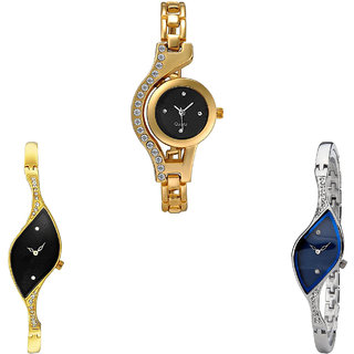 Neutron Treading Tread Chain Analogue Gold And Silver Color Girls And Women Watch - G114-G354-G353 (Combo Of  3 )