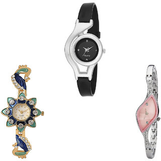 Neutron Modern Formal World Cup And Peacock Analogue Black, Gold And Silver Color Girls And Women Watch - G1-G119-G405 (Combo Of  3 )