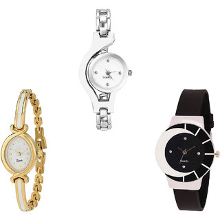 Neutron Modern Unique Chain Analogue Silver, Gold And Black Color Girls And Women Watch - G70-G123-G8 (Combo Of  3 )