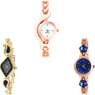 Neutron New Stylish Chain And Flower Dimond Analogue Rose Gold And Gold Color Girls And Women Watch - G69-G266-G340 (Combo Of  3 )