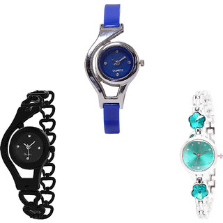 Neutron Treading Rich World Cup, Chain And Flower Dimond Analogue Blue, Black And Silver Color Girls And Women Watch - G2-G68-G339 (Combo Of  3 )