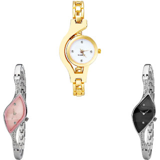 Neutron New Present Chain Analogue Gold And Silver Color Girls And Women Watch - G337-G405-G352 (Combo Of  3 )