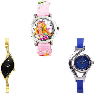 Neutron Contemporary Exclusive Barbie Doll And World Cup Analogue Pink, Gold And Blue Color Girls And Women Watch - G7-G354-G2 (Combo Of  3 )