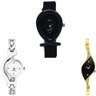 Neutron Classical Fashion Fish Shape And Chain Analogue Black, Silver And Gold Color Girls And Women Watch - G55-G70-G354 (Combo Of  3 )