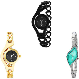 Neutron Treading Stylish Chain Analogue Black, Gold And Silver Color Girls And Women Watch - G68-G336-G406 (Combo Of  3 )