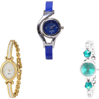 Neutron Treading Chronograph World Cup And Flower Dimond Analogue Blue, Gold And Silver Color Girls And Women Watch - G2-G123-G339 (Combo Of  3 )