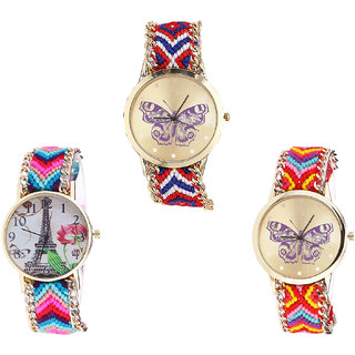 Neutron Treading Fashion Butterfly And Paris Eiffel Tower Analogue Multi Color Color Girls And Women Watch - G134-G143-G131 (Combo Of  3 )