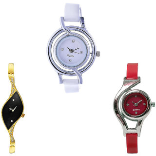Neutron Best Diwali World Cup Analogue White, Gold And Red Color Girls And Women Watch - G50-G354-G5 (Combo Of  3 )