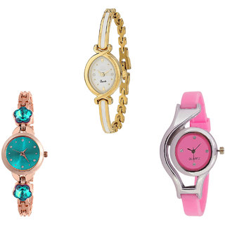 Neutron Modern Heart Flower Dimond And World Cup Analogue Gold, Rose Gold And Pink Color Girls And Women Watch - G123-G341-G3 (Combo Of  3 )