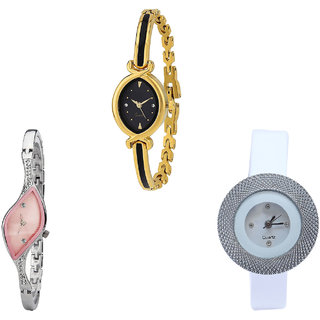 Neutron Contemporary Analogue Chronograph Analogue Gold, Silver And White Color Girls And Women Watch - G121-G405-G56 (Combo Of  3 )