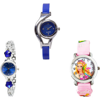 Neutron Classical Collegian World Cup, Flower Dimond And Barbie Doll Analogue Blue, Silver And Pink Color Girls And Women Watch - G2-G338-G7 (Combo Of  3 )
