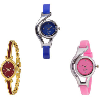 Neutron New Unique World Cup Analogue Blue, Gold And Pink Color Girls And Women Watch - G2-G122-G3 (Combo Of  3 )