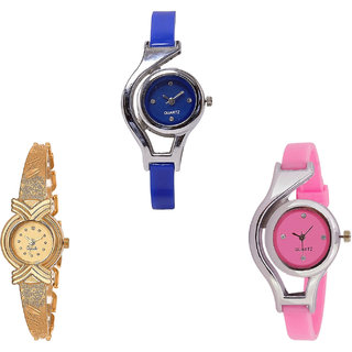 Neutron New Present World Cup Analogue Blue, Gold And Pink Color Girls And Women Watch - G2-G265-G3 (Combo Of  3 )