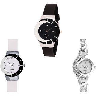 Neutron Latest Present  Analogue Black, White And Silver Color Girls And Women Watch - G8-G11-G404 (Combo Of  3 )