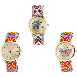 Neutron Brand New Exclusive Elephant And Butterfly Analogue Multi Color Color Girls And Women Watch - G159-G165-G131 (Combo Of  3 )