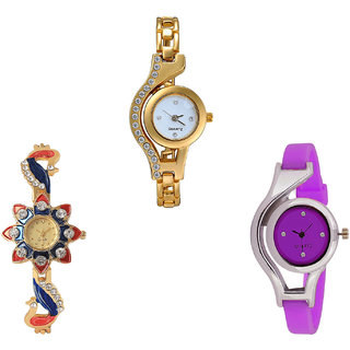 Neutron Classical Fashion Chain, Peacock And World Cup Analogue Gold And Purple Color Girls And Women Watch - G115-G118-G4 (Combo Of  3 )