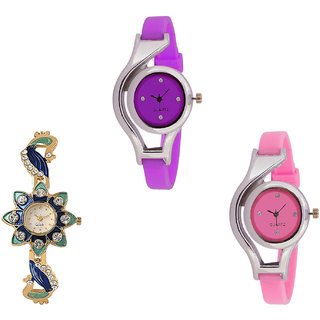 Neutron Latest Quartz World Cup And Peacock Analogue Purple, Gold And Pink Color Girls And Women Watch - G4-G119-G3 (Combo Of  3 )
