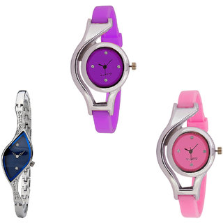 Neutron Treading Fashion World Cup Analogue Purple, Silver And Pink Color Girls And Women Watch - G4-G353-G3 (Combo Of  3 )