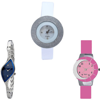 Neutron New Wrist  Chronograph Analogue White, Silver And Pink Color Girls And Women Watch - G56-G353-G9 (Combo Of  3 )