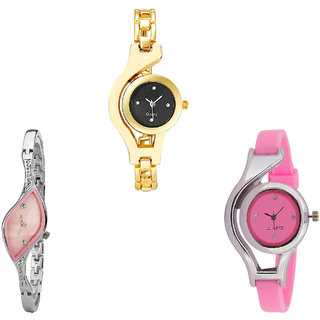 Neutron Contemporary Designer Chain And World Cup Analogue Gold, Silver And Pink Color Girls And Women Watch - G336-G405-G3 (Combo Of  3 )