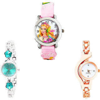 Neutron Best Collegian Barbie Doll, Flower Dimond And Chain Analogue Pink, Silver And Rose Gold Color Girls And Women Watch - G7-G339-G69 (Combo Of  3 )