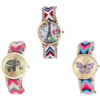 Neutron Modern Unique Paris Eiffel Tower, Elephant And Butterfly Analogue Multi Color Color Girls And Women Watch - G148-G163-G130 (Combo Of  3 )