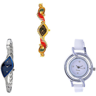 Neutron Brand New Present Peacock Analogue Gold, Silver And White Color Girls And Women Watch - G117-G353-G50 (Combo Of  3 )