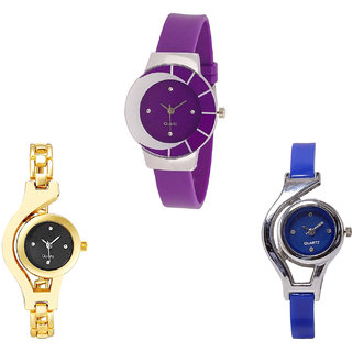 Neutron Best Quartz Chain And World Cup Analogue Purple, Gold And Blue Color Girls And Women Watch - G10-G336-G2 (Combo Of  3 )