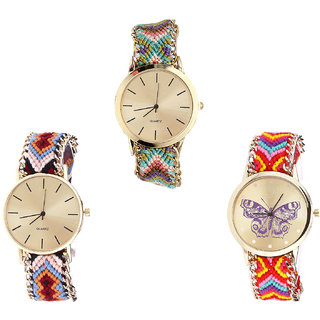 Neutron Best Chronograph Butterfly Analogue Multi Color Color Girls And Women Watch - G167-G316-G131 (Combo Of  3 )