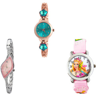 Neutron Brand New Luxury Flower Dimond And Barbie Doll Analogue Rose Gold, Silver And Pink Color Girls And Women Watch - G341-G405-G7 (Combo Of  3 )