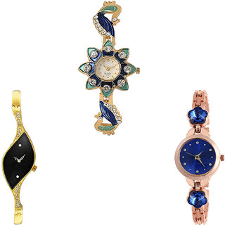 Neutron Brand New Diwali Peacock And Flower Dimond Analogue Gold And Rose Gold Color Girls And Women Watch - G119-G354-G340 (Combo Of  3 )