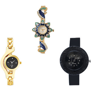 Neutron Brand New Stylish Peacock, Chain And Chronograph Analogue Gold And Black Color Girls And Women Watch - G119-G336-G57 (Combo Of  3 )