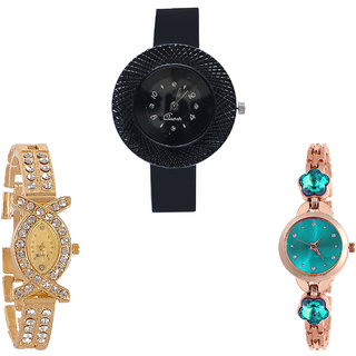 Neutron Classical Diwali Chronograph And Flower Dimond Analogue Black, Gold And Rose Gold Color Girls And Women Watch - G57-G125-G341 (Combo Of  3 )