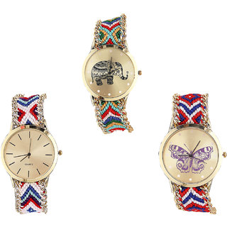 Neutron Modern Quartz Elephant And Butterfly Analogue Multi Color Color Girls And Women Watch - G156-G313-G134 (Combo Of  3 )