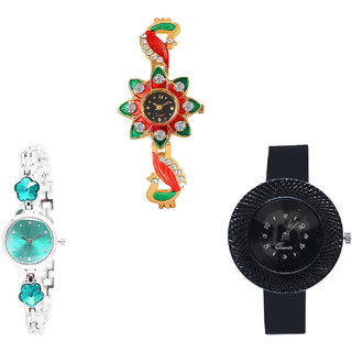 Neutron Brand New Analogue Peacock, Flower Dimond And Chronograph Analogue Gold, Silver And Black Color Girls And Women Watch - G120-G339-G57 (Combo Of  3 )