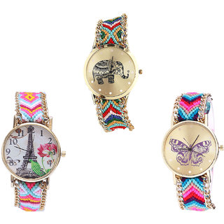 Neutron New Designer Elephant, Paris Eiffel Tower And Butterfly Analogue Multi Color Color Girls And Women Watch - G156-G310-G130 (Combo Of  3 )