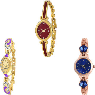 Neutron Latest Luxury Flower Dimond Analogue Gold And Rose Gold Color Girls And Women Watch - G122-G124-G340 (Combo Of  3 )