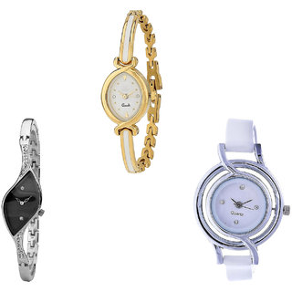 Neutron Classical Formal  Analogue Gold, Silver And White Color Girls And Women Watch - G123-G352-G50 (Combo Of  3 )