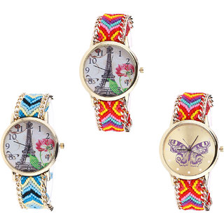 Neutron Treading Formal Paris Eiffel Tower And Butterfly Analogue Multi Color Color Girls And Women Watch - G144-G149-G131 (Combo Of  3 )