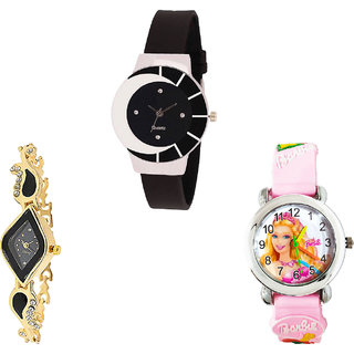 Neutron Modern Formal Barbie Doll Analogue Black, Gold And Pink Color Girls And Women Watch - G8-G266-G7 (Combo Of  3 )