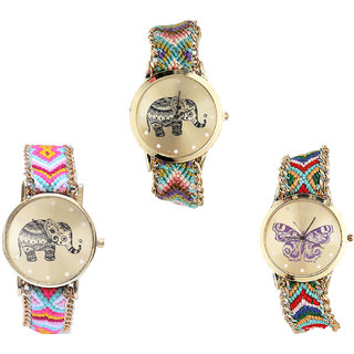 Neutron Classical Luxury Elephant And Butterfly Analogue Multi Color Color Girls And Women Watch - G157-G312-G132 (Combo Of  3 )