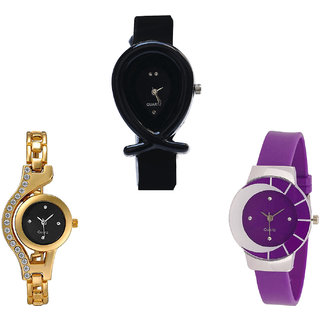 Neutron Classical Heart Fish Shape And Chain Analogue Black, Gold And Purple Color Girls And Women Watch - G55-G114-G10 (Combo Of  3 )