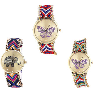 Neutron Contemporary Analogue Butterfly And Elephant Analogue Multi Color Color Girls And Women Watch - G134-G311-G132 (Combo Of  3 )