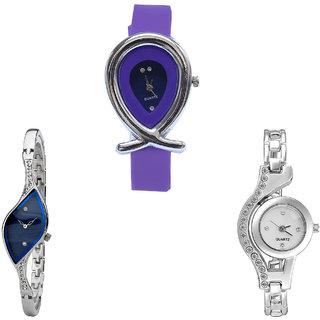 Neutron Classical Stylish Fish Shape Analogue Purple And Silver Color Girls And Women Watch - G54-G353-G404 (Combo Of  3 )