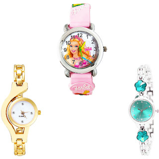 Neutron Best Stylish Barbie Doll, Chain And Flower Dimond Analogue Pink, Gold And Silver Color Girls And Women Watch - G7-G337-G339 (Combo Of  3 )