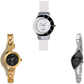 Neutron Modern Present Chain Analogue White, Gold And Silver Color Girls And Women Watch - G11-G114-G352 (Combo Of  3 )