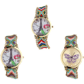 Neutron New Quartz Paris Eiffel Tower And Butterfly Analogue Multi Color Color Girls And Women Watch - G145-G146-G133 (Combo Of  3 )